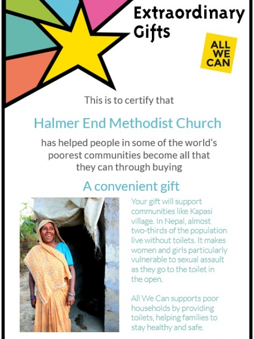 Halmer End Methodist Church - Extraordinary Gifts Certificate_161026