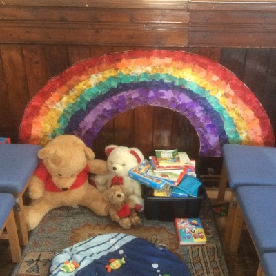Kids corner with rainbow