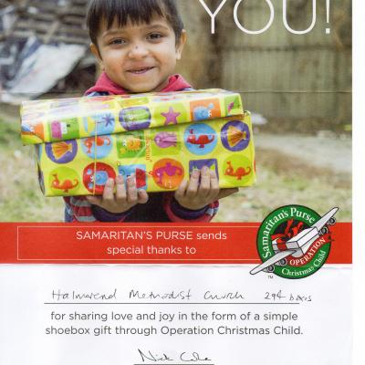 Samaritan's Purse Certificate for 294 boxes in 2017