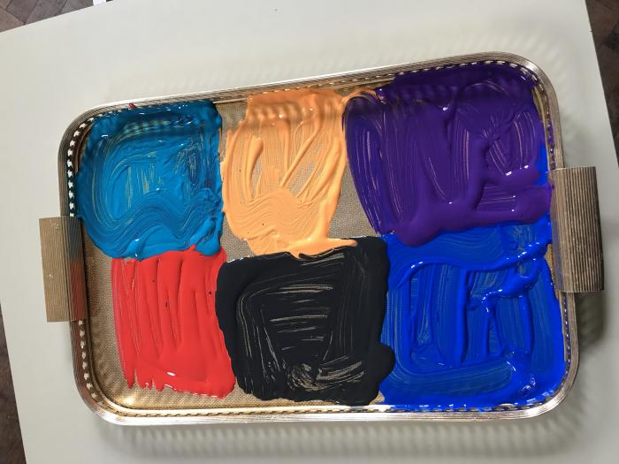 Tray of paint
